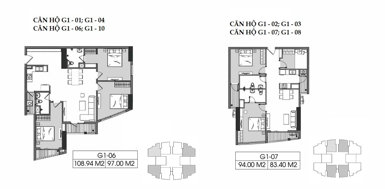 Căn hộ 2PN + 1 83m2 và căn hộ 3PN 97 m2