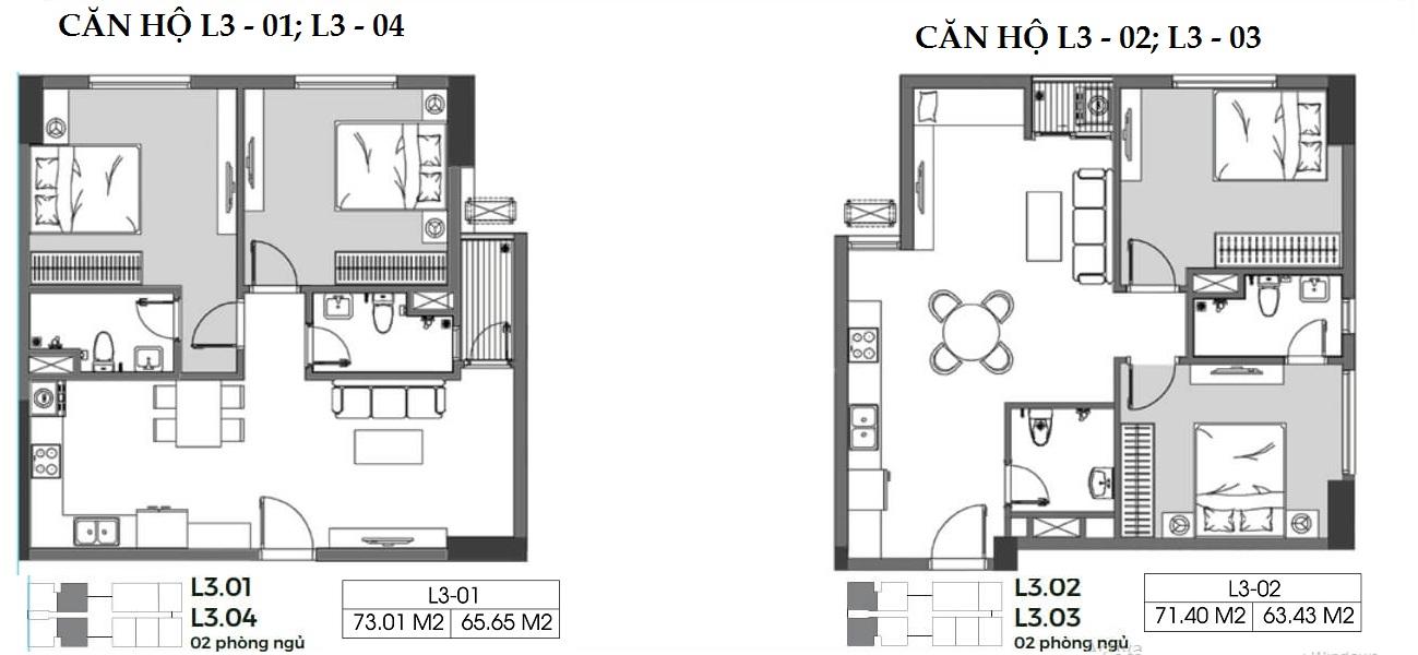 Chi tiết bản vẽ căn hộ 2 phòng ngủ 2 vệ sinh có diện tích 63 m2 , 65 m2