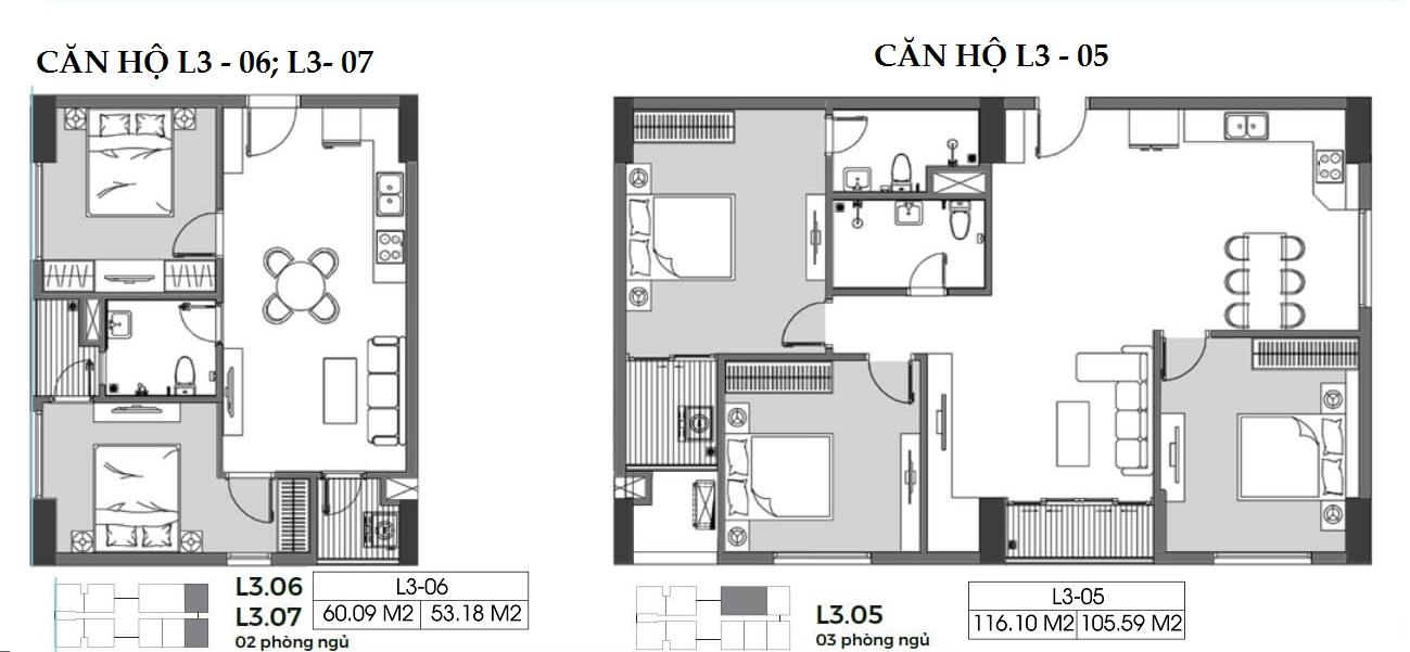 Căn hộ 53 m2 và 105 m2 tòa L3